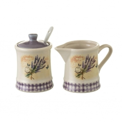 "Azucarero y jarra ""lavanda"" stoneware 11,40 x 6,80 x 8 cm"