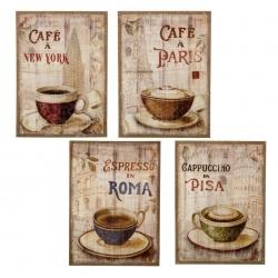 Pack 4 cuadro vintage café ciudades lino-mdf .