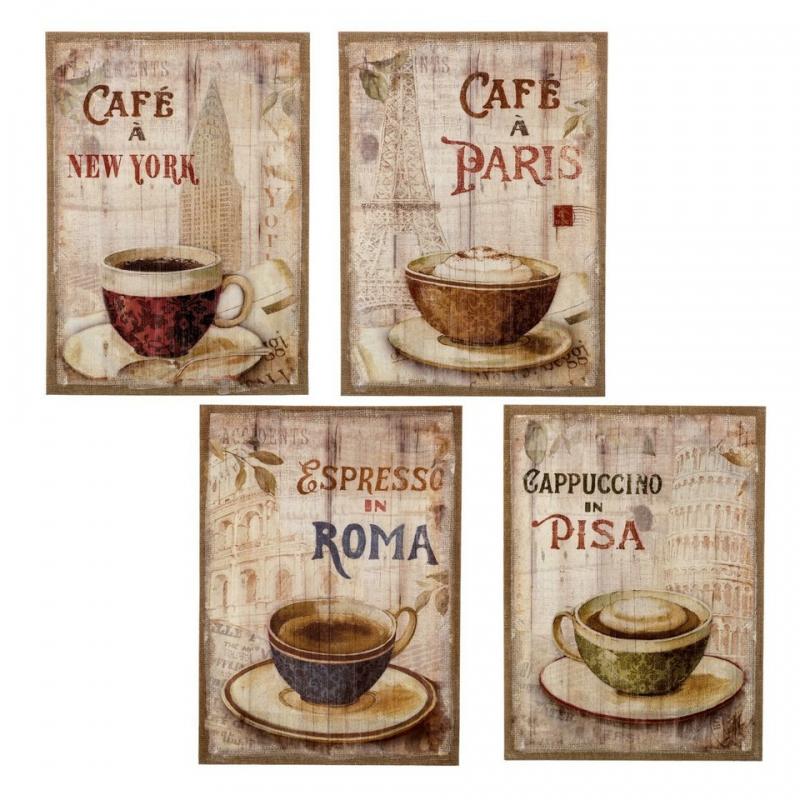 Pack 4 Cuadro Vintage Cafe Ciudades Lino Mdf Dcasa Es