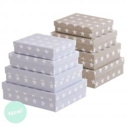 Juego 4 cajas cuadrado diseño moderno estrellas 2C