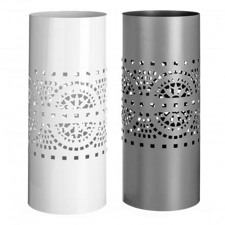 Paragüero 2/c metal 19,50 x 19,50 x 49 cm blanco y gris.