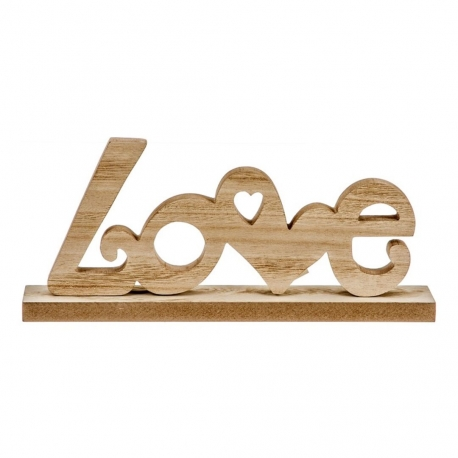 Decoracion sobremesa madera love .