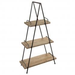 Estantería tijera de 3 estantes industrial marrón de madera para salón Factory