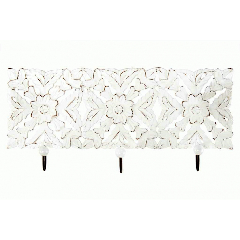Perchero pared madera tallada de 3 colgador blanco - Perchero pared blanco ...