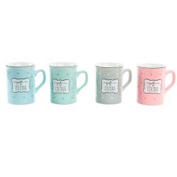 """Tazas con frases de colores pastel """" Pack de 4 tazas """""""