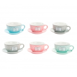 "Tazas de cafe frases colores pastel "" Pack de 6 tazas con plato """