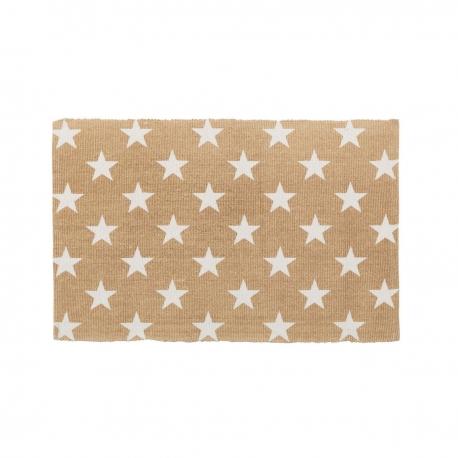 Alfombra blanco beige estrellas algod n 90 x 60 cm - Alfombra beige ...