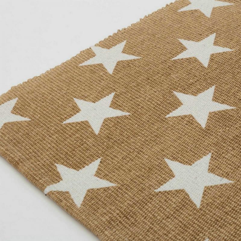 alfombra blanco beige estrellas algod n 90 x 60 cm