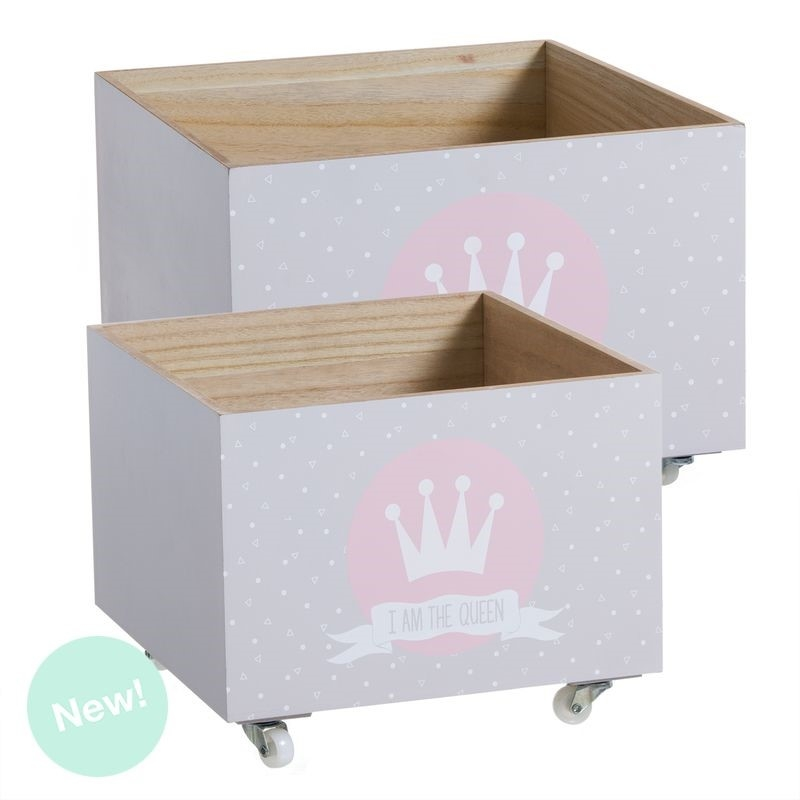 Juego 2 cajas multiusos con ruedas infantil corona - Caja madera con ruedas ...