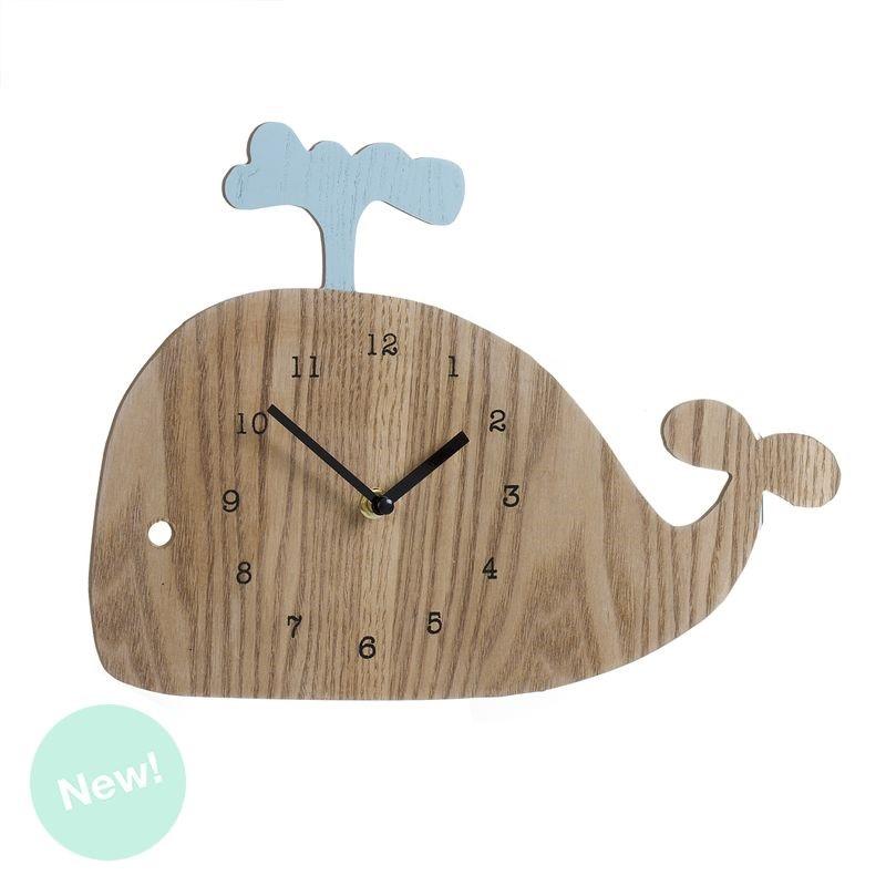 Reloj de pared madera infantil ballena - Reloj pared madera ...