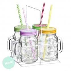 Set 4 jarras con pajita soporte metal moderno frutas .