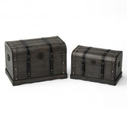 Baúles auxiliares rústicos gris de madera para decoración Factory