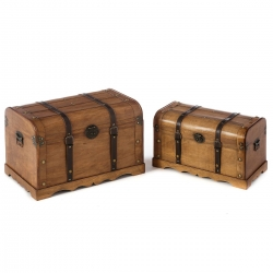 Baúles auxiliares rústicos marron de madera para decoración