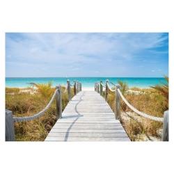 Cuadro de playa clásico azul de lienzo para salón de 120 x 80 cm Vitta