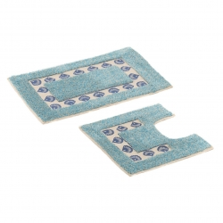 Set 2 alfombras azul-blanco 100% algodón para baño .