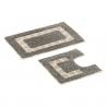Set 2 alfombras gris-blanco 100% algodón para baño .