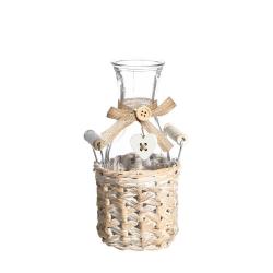 Botella cesta crema cristal-mimbre 10 x 10 x 9 cm .