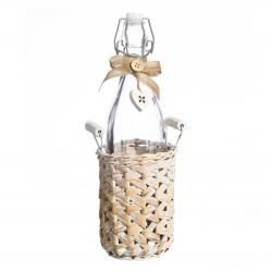 Botella cesta crema cristal-mimbre 11 x 11 x 14,50 cm .