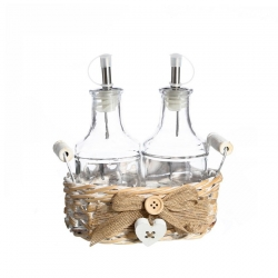 Cesta vinagreras sobremesa románticos beige cristal para comedor France