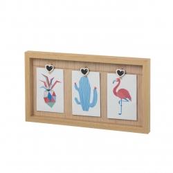Portafotos con pinzas madera natural para 3 fotos 10x15cm .