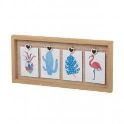 Portafotos con pinzas madera natural para 4 fotos 10x15cm .