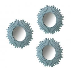 Set 3 espejo azul polipropileno 25 cm
