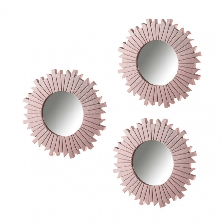 Set 3 espejo rosa polipropileno 25 cm