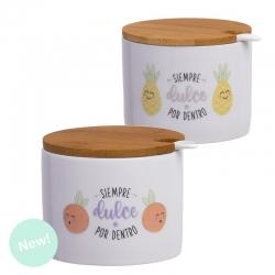 """Pack 2 azucarero ceramica con tapa bambu """" La Huerta """""""