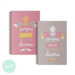 """Libretas A5 diseño piña """" Siempre dulce por dentro """" - Pack 2 ud."""