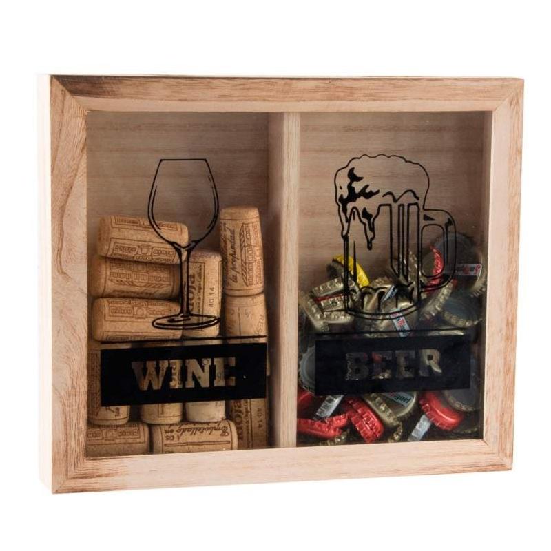 Caja guardacorchos madera y cristal para tapones y for Cuadros con corchos