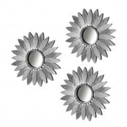 Set 3 espejo plata polipropileno 25 cm