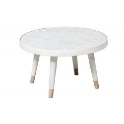 Mesa auxiliar madera Blanco Envejecido y Marron, 61x61x35.5 cm
