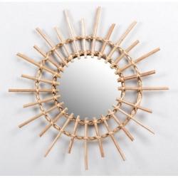 Espejo forma de sol con mimbre natural trenzado 63 cm .