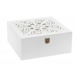Caja joyero moderna blanca de madera para dormitorio.