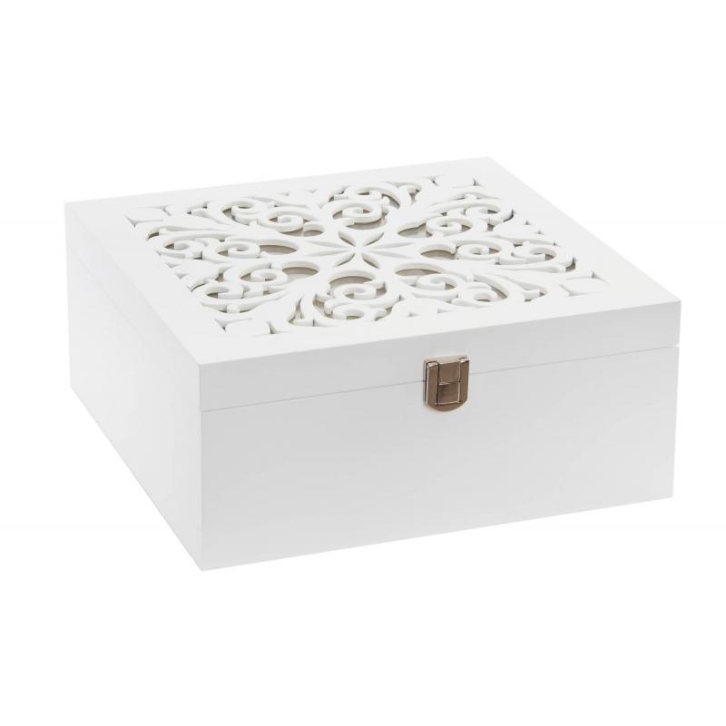 Caja joyero tnica blanca de madera para dormitorio for Cajas de madera blancas