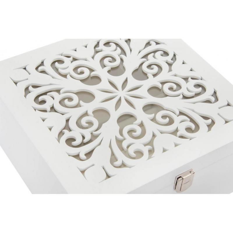 4bb8aa2b499b Caja joyero moderna blanca de madera para dormitorio.