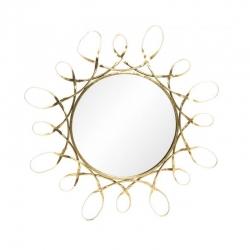 Espejo de pared chic dorado de metal para la entrada de 80 cm