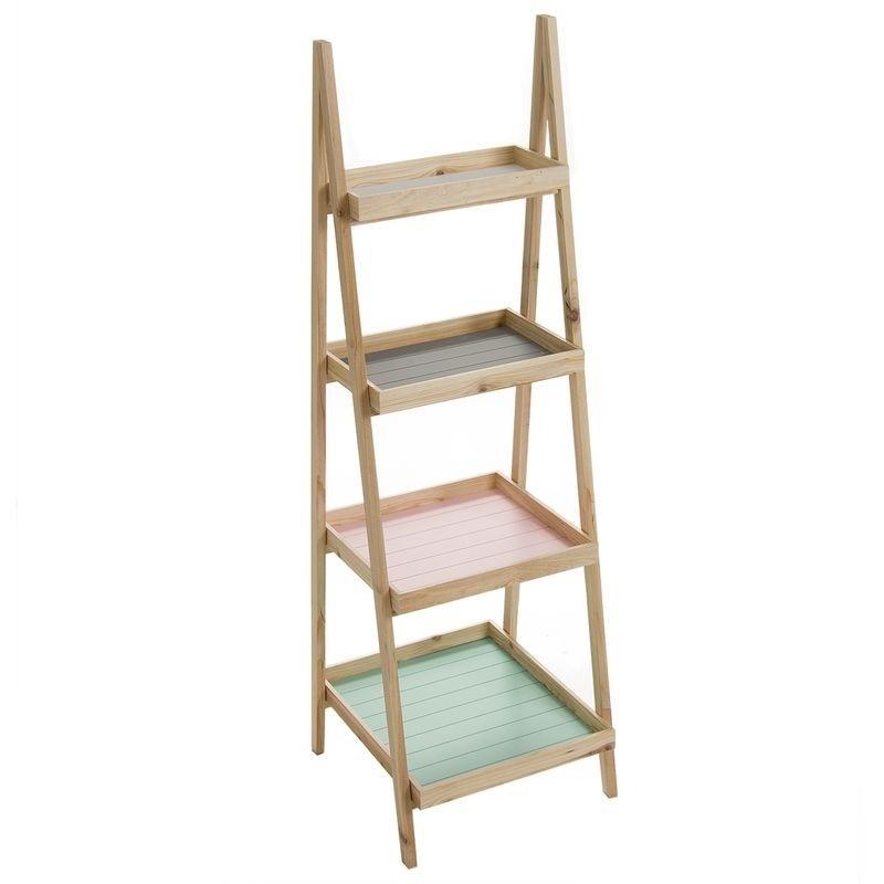 Estanter a tijera de 4 estantes de madera para sal n - Estanterias en madera ...