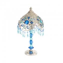Lámpara de mesa etnica azul para salón 27x50 cm .