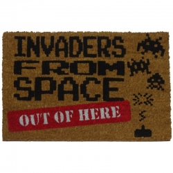 Felpudo con Diseño Invaders Out, PVC, Coco, 60 x 40 cm