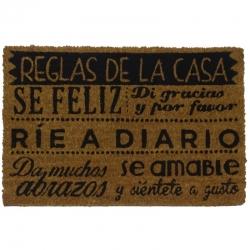 Felpudo con Diseño Reglas de la Casa, PVC, Coco, 60 x 40 cm