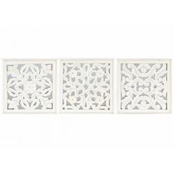 Conjunto de Murales decoracion pared madera tallada y cristal 30x30 cm