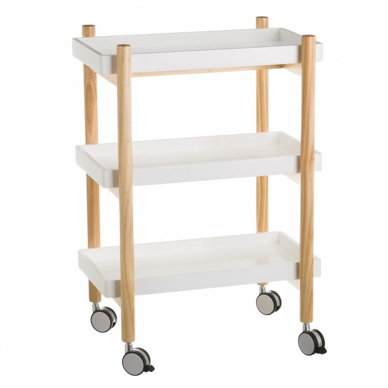 Carro cocina 3 lejas blanco de madera 56x28x80 cm dcasa es for Carritos de cocina de madera