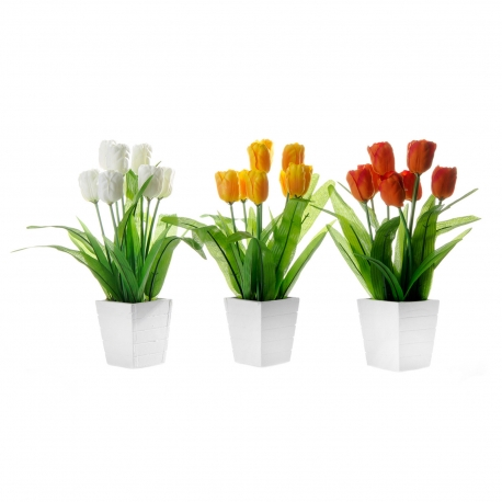 pack 3 planta tulipan poliester en maceta de madera . | dcasa.es