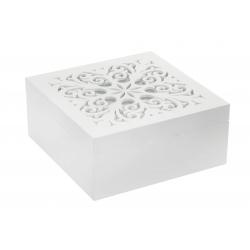 Caja infusiones de madera cristal 18x18x8 cm .