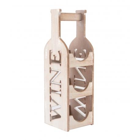 Botellero original madera natural 14x14x46 cm .