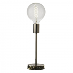 Lámpara de sobremesa industrial plateada madera para salón Factory