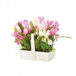 Planta iris poliester maceta madera 22x12x29 cm .