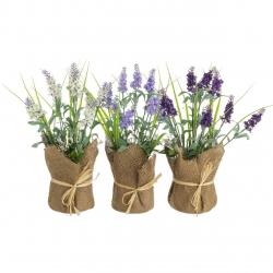 Pack 3 Plantas artificial lavanda poliester con tela de saco .