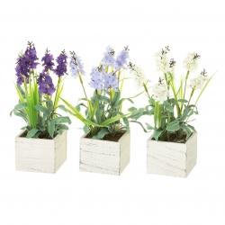 Pack 3 Plantas artificial lavanda en maceta madera